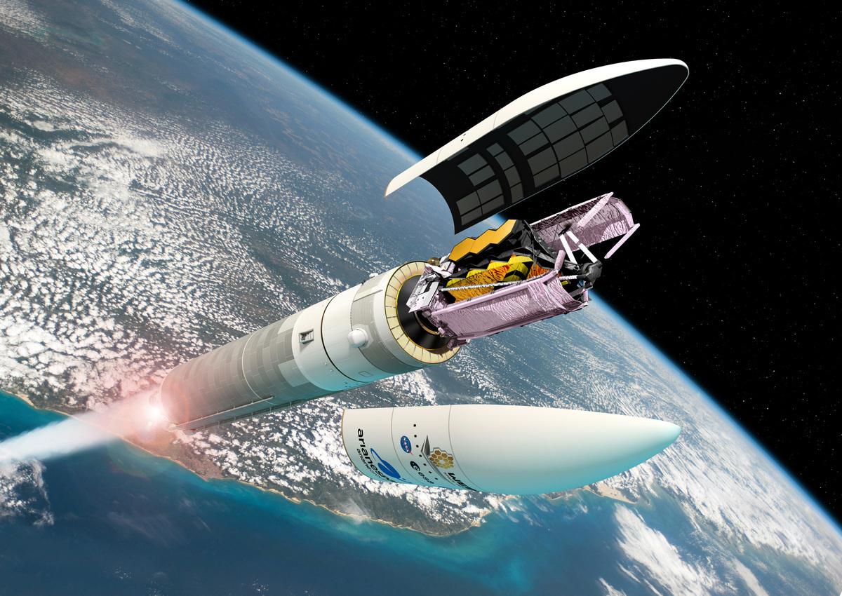 韋伯望遠鏡由歐洲太空局的亞利安5號運載火箭(Ariane 5)發射的藝術概念圖。(ESA/D. Ducros)