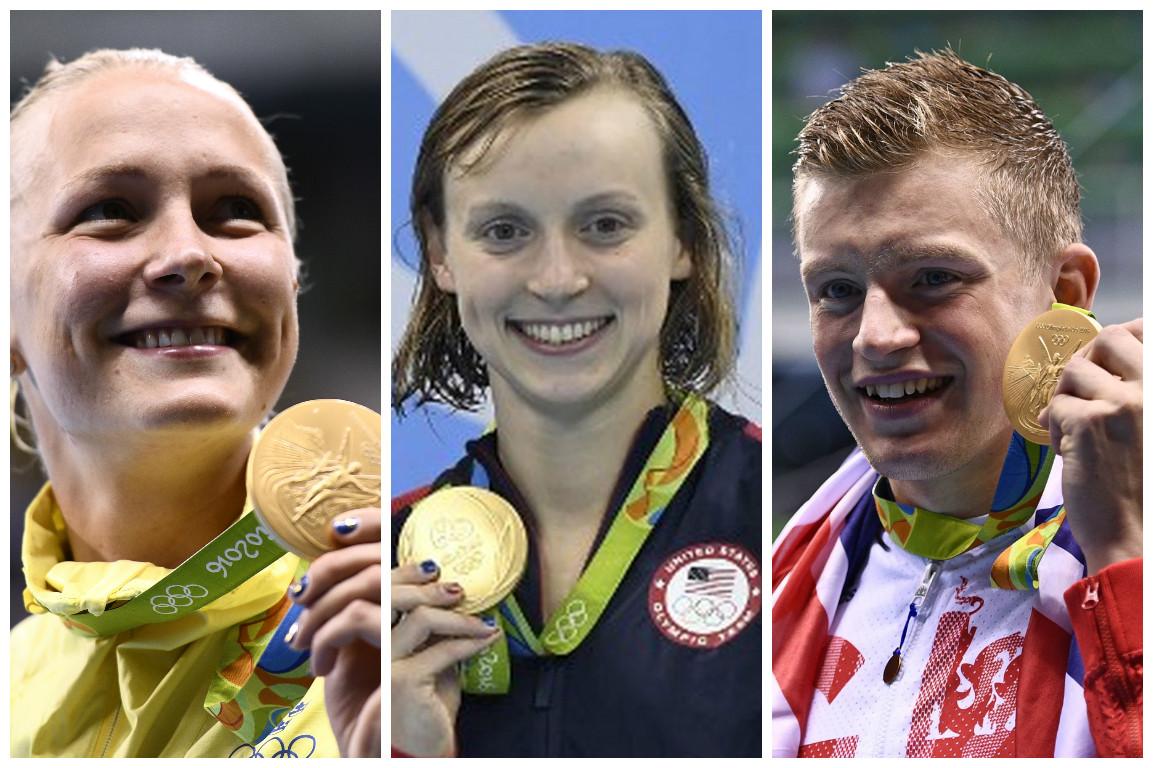 里約奧運游泳7日刷新3項世界紀錄:女子400公尺自由式、女子100公尺蝶式、男子100公尺蛙式。左起:瑞典Sarah Sjostrom,圖中為美國Katie Ledecky,圖右為英國泳Adam Peaty。(大紀元合成圖)