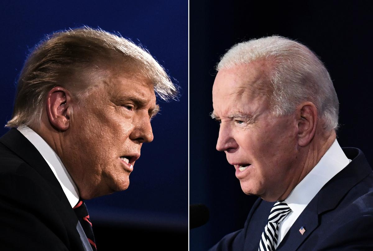 美國總統候選人、共和黨現任總統特朗普(左)和民主黨候選人祖∙拜登(右)。(JIM WATSON,SAUL LOEB/AFP via Getty Images)