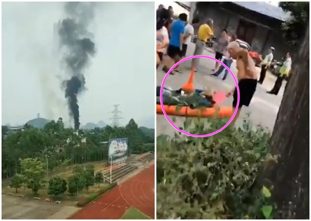 網傳中共一架戰鬥機在廣西墜毀 機師重傷