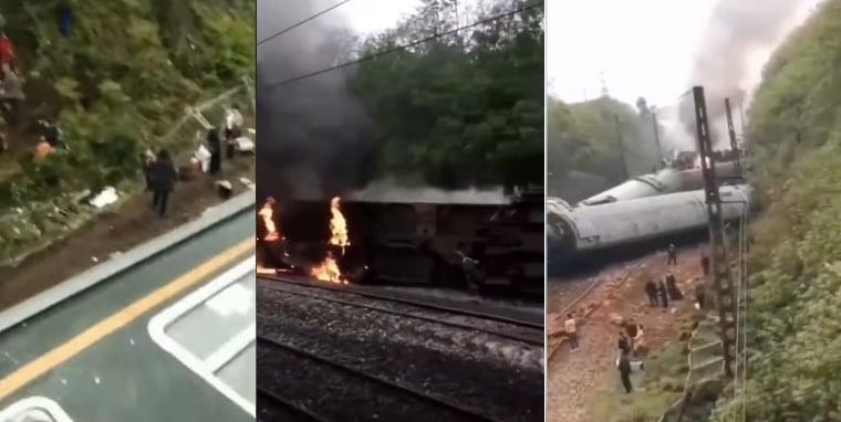 湖南郴州一列火車出軌翻側,多節車廂脫軌,造成1人死亡百餘人受傷。(影片截圖)