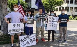 華裔青年洛杉磯中領館前聲援香港:黎智英李柱銘等不該被判