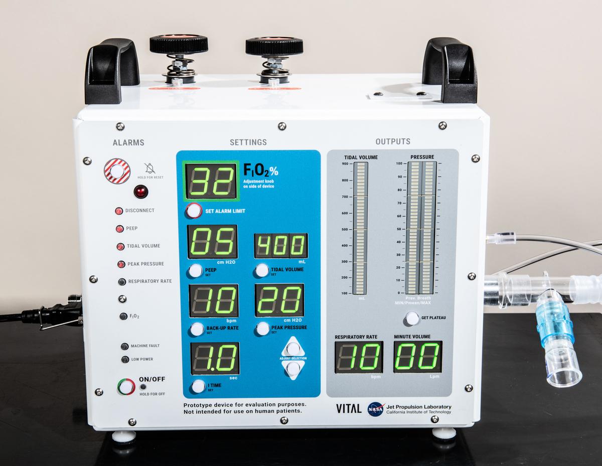 VITAL是NASA開發的一種新型呼吸機,專門用於治療中共病毒患者。(NASA)