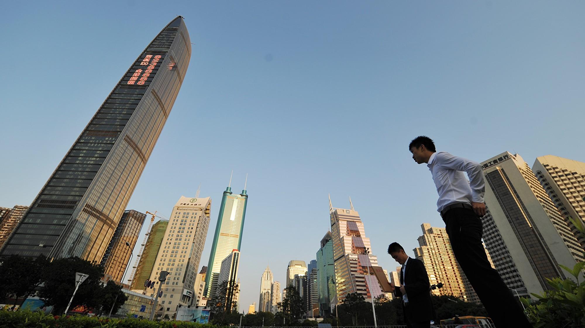 今年上半年,深圳的甲級寫字樓空置率已攀升至23.3%,其中最高的前海片區達65.7%。(PETER PARKS/AFP/Getty Images)