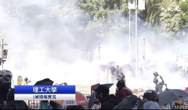 警狂射催淚彈至少150枚 港理大煙霧瀰漫
