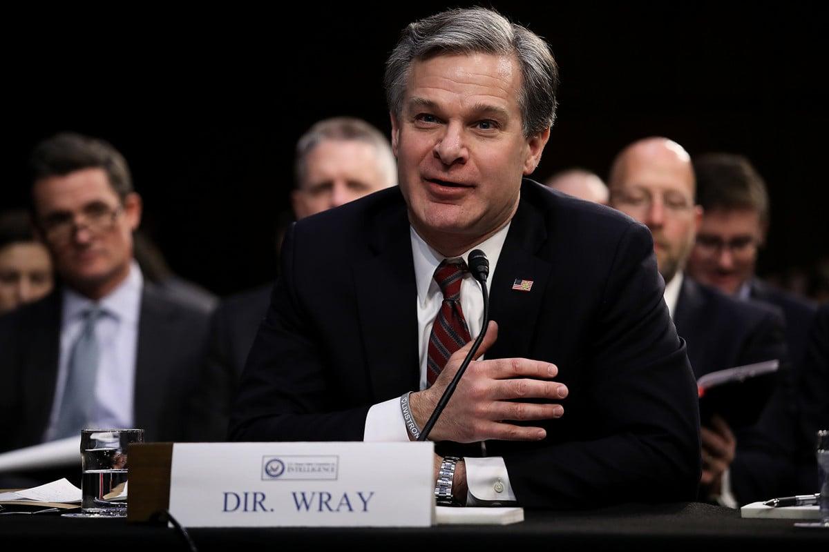 美國聯邦調查局長雷伊(Christopher Wray)2019年7月23日於參議院司法委員會作證,指出FBI正在調查的一千多起知識產權盜竊案件中,「幾乎都指向中國(中共)」。(Win McNamee/Getty Images)