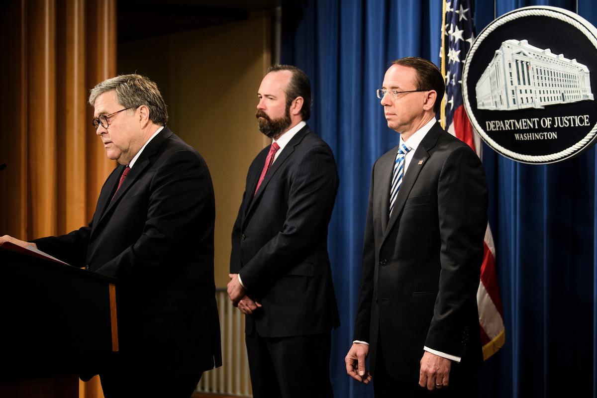 司法部長巴爾18日召開新聞發佈會。 (Brendan Smialowski/AFP)