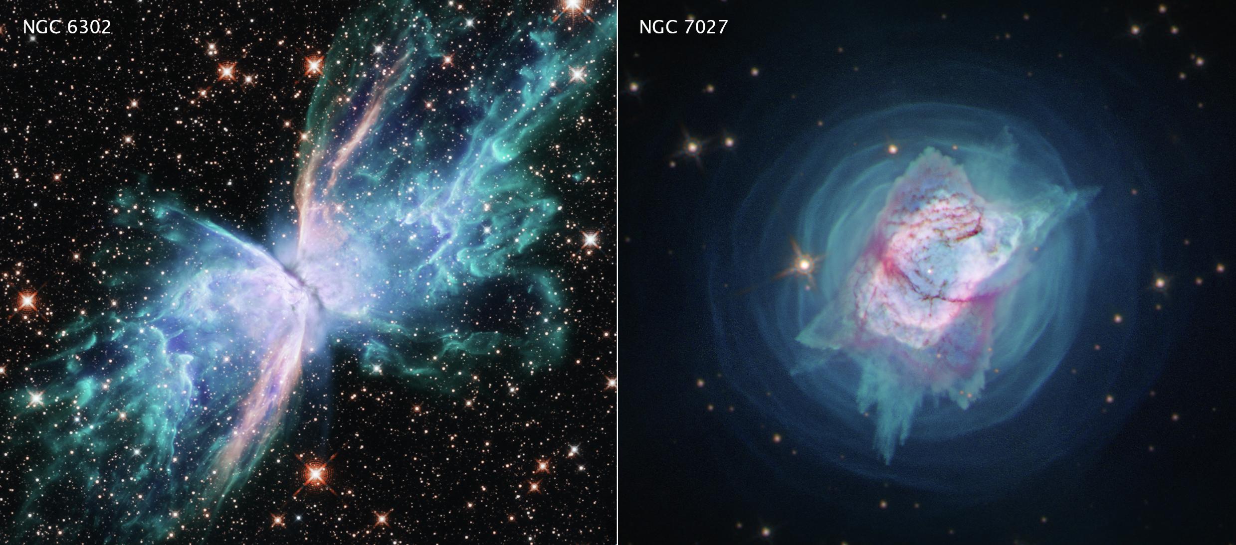一個是名為NGC 6303的蝴蝶星雲(左),另一個是NGC 7027(右)。(Credits: NASA, ESA and J. Kastner (RIT)