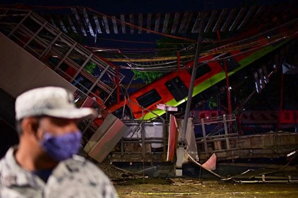 2021年5月3日,墨西哥城地鐵高架軌道坍塌,至少有20人死亡,數十人受傷。目前,還有一輛車困在倒塌的瓦礫之中。(PEDRO PARDO/AFP via Getty Images)