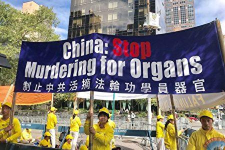 海外法輪功學員呼籲制止中共活摘法輪功學員器官的罪行。(大紀元)