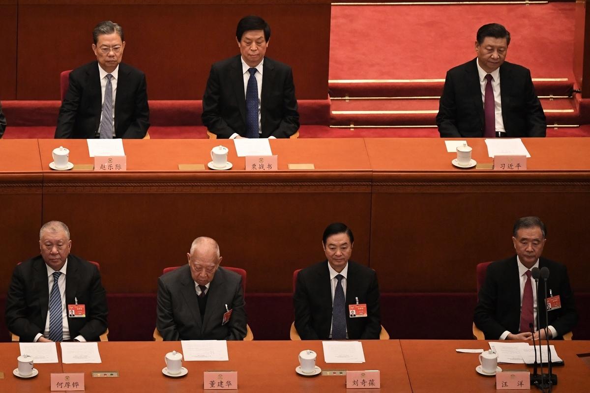3月10日,中共全國政協主席汪洋的政協常委會工作報告繼續用「愛國者治港」代替「一國兩制」。(NOEL CELIS/AFP via Getty Images)