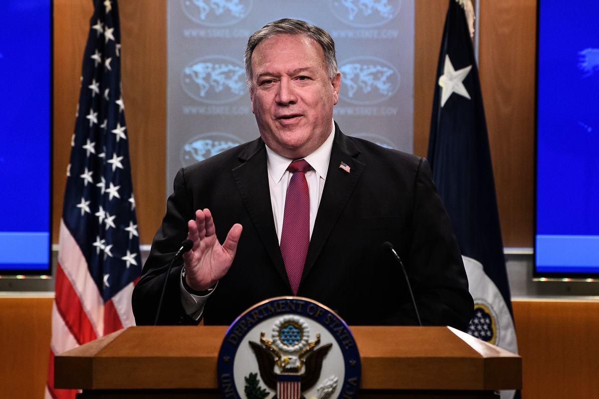 美國國務卿蓬佩奧在國務院舉行新聞發佈會上的資料圖。(NICHOLAS KAMM/POOL/AFP via Getty Images)