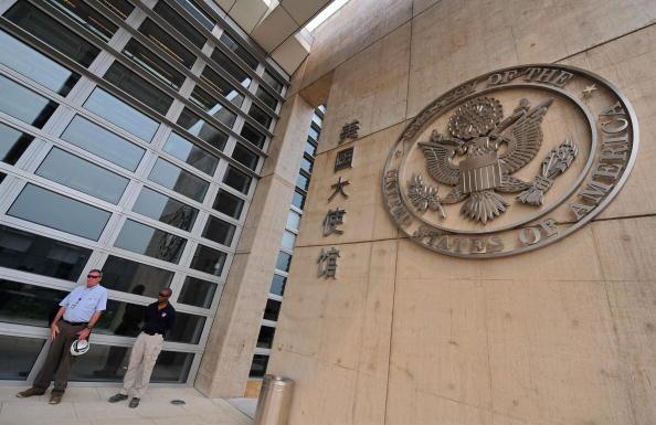 2019年11月18日,美國駐華大使館將蓬佩奧關於香港的評論中文版發表在其網站上。圖為北京的美國大使館(TEH ENG KOON/AFP/Getty Images)