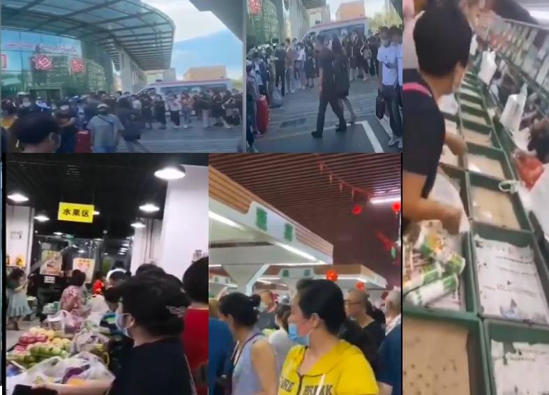 新疆已有民眾排隊做核酸檢測,連夜到超市搶購物品。有網民指2020年7月17日新疆封城,但官方未公佈此消息。(影片截圖合成)