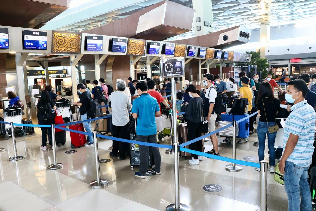 印尼台商自雅加達搭乘班機。(中央社)