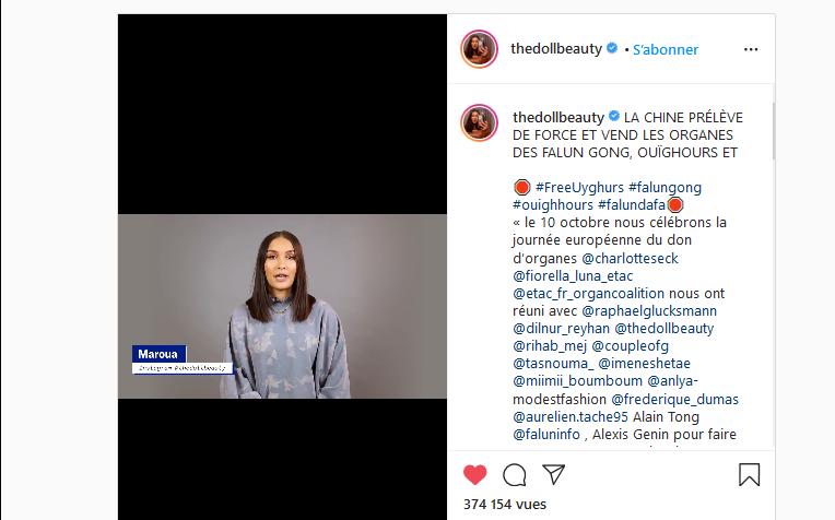 10月10日是歐洲器官捐贈日,法國社交媒體網紅馬魯阿(Maroua)在其Instagram上推出一影片,揭露中共對法輪功學員、維吾爾族人、良心犯進行強行摘取器官,進行販賣器官的暴行。(網絡截圖)