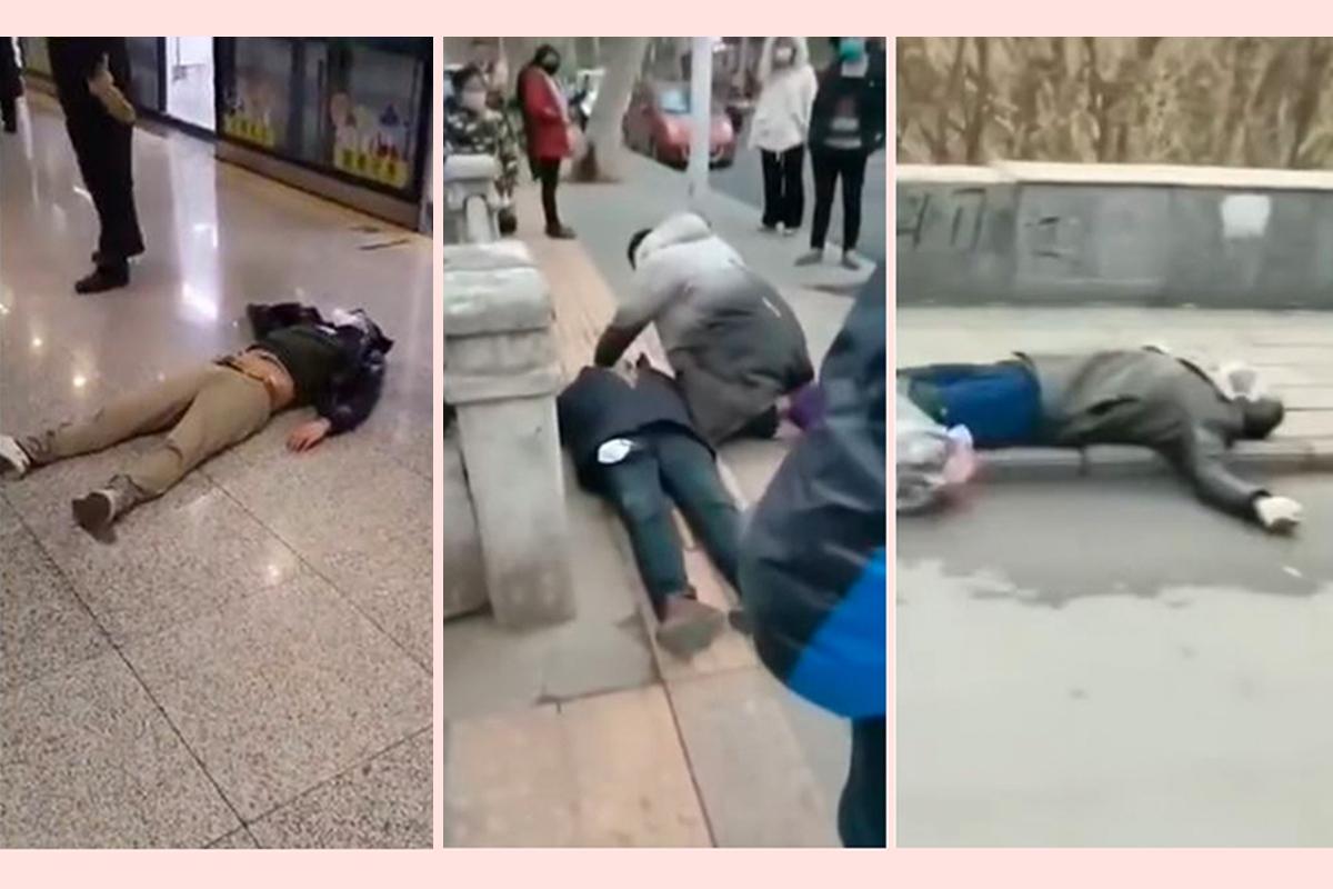 中共肺炎在武漢爆發,一些病人突然倒地死亡。(影片截圖)