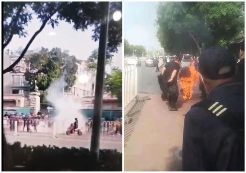 北京國家信訪局門口一男子汽油澆身自焚(影片)