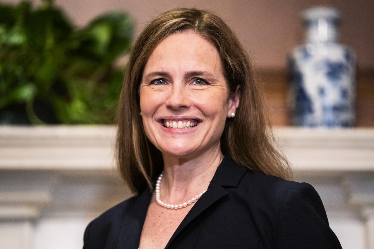 最高法院大法官提名人艾米·科尼·巴雷特(Amy Coney Barrett)。(Jim Lo Scalzo-Pool/Getty Images)