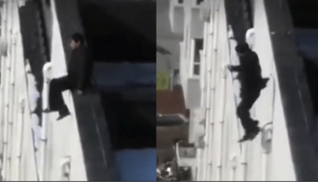 疑似黃井貴跳樓前後的影片在網上流出。(影片截圖)