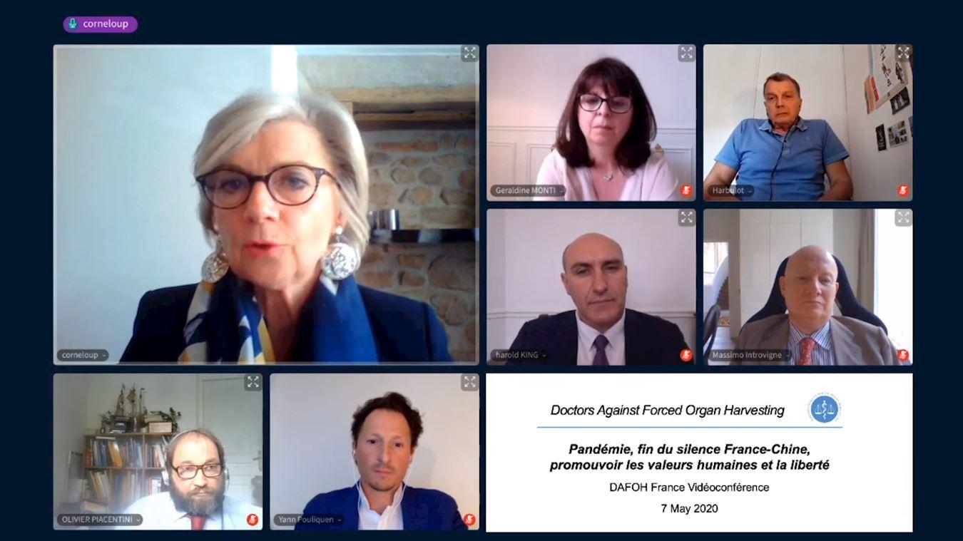 2020年5月7日,法國「醫生反對活摘器官協會」(DAFOH)舉行了網上電視會議。圖為會議全景圖。(明慧網)