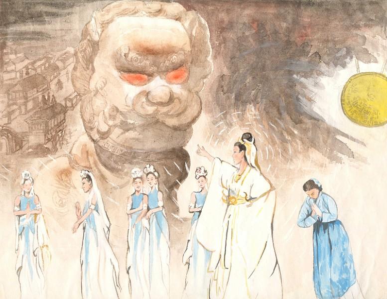 流傳至廣的「紅眼石獅」的傳說,世人將面臨著大災難的話,還能通過獅子的眼睛得到一點訊息嗎?(繪圖:王延英提供)