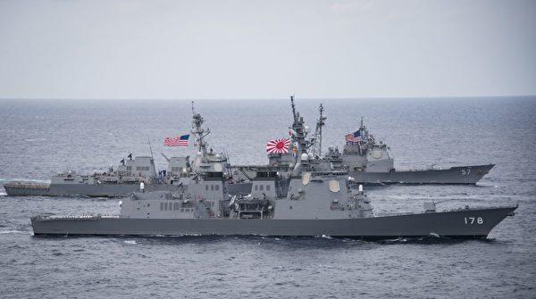 2017年4月28日,日本海上自衛隊驅逐艦足柄號(JS Ashigara, DDG 178,前),阿利‧伯克級驅逐艦韋恩‧E‧邁耶號(USS Wayne E. Meyer, DDG 108)和提康德羅加級巡洋艦香普蘭湖號(USS Lake Champlain, CG 57)正穿過菲律賓海 。(U.S. Navy photo by Mass Communication Specialist 2nd Class Z.A. Landers)