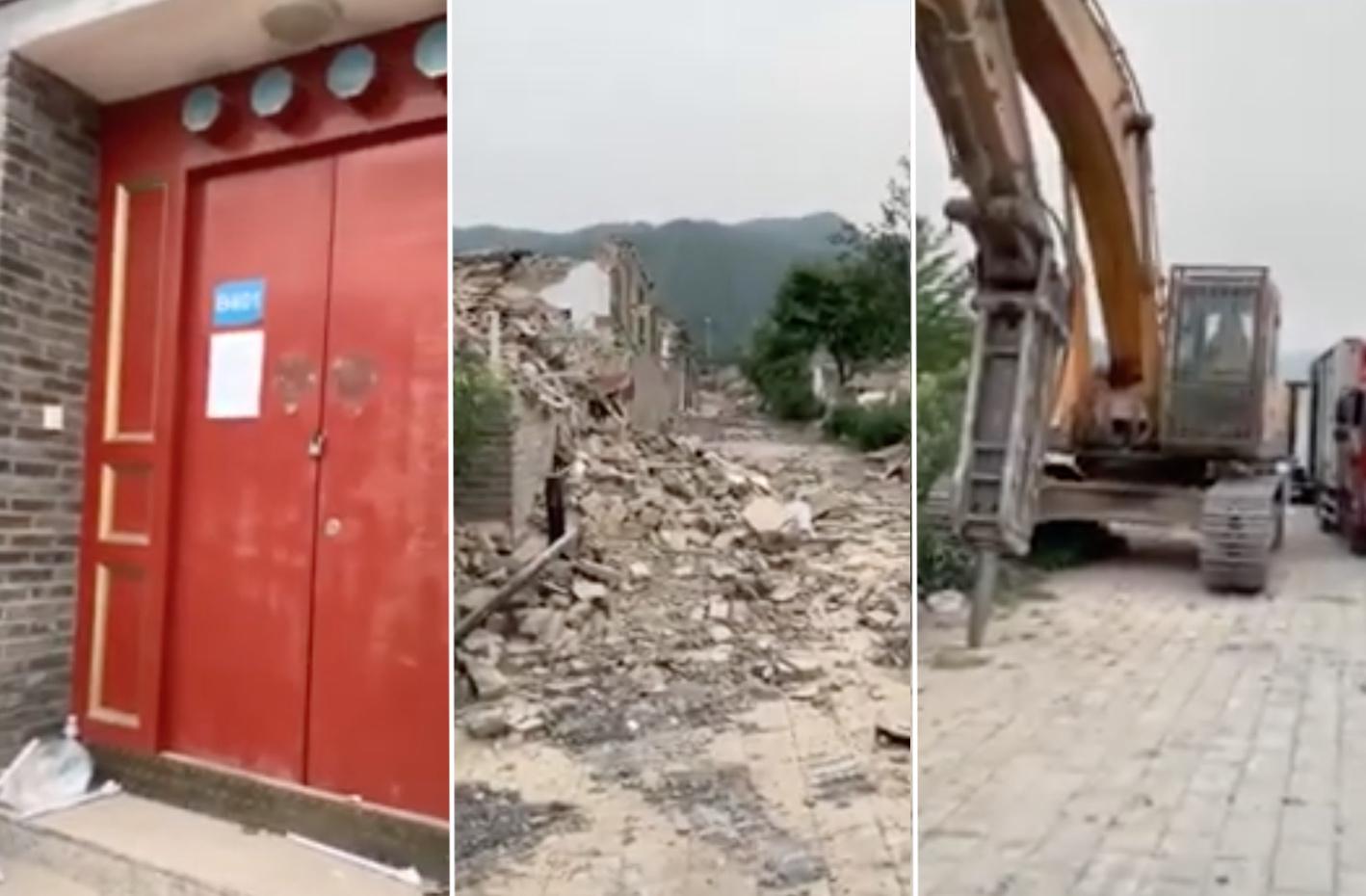 北京郊區小產權房遭到大規模強拆。圖為2020年8月5日懷柔區水長城老北京四合院遭強拆畫面。(影片截圖)