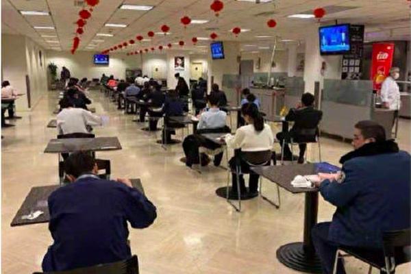 中共肺炎肆虐中國大陸。2020年2月10日大陸某地食堂情況。(網絡圖片)