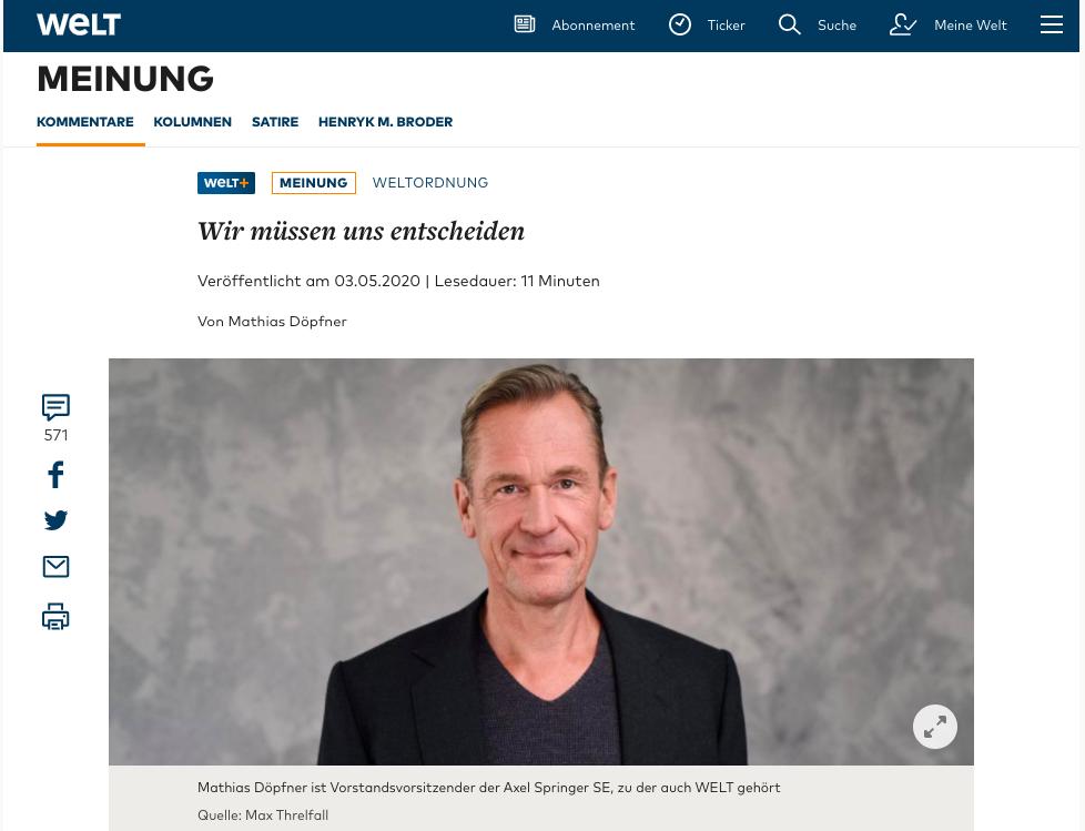 德國多媒體集團董事會主席多普夫納(Mathias Dopfner)近期在《世界報》發表文章,闡述歐洲必須與中共脫鉤。(網絡截圖)