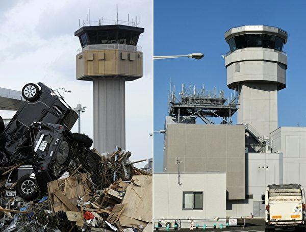 日本311大地震重災區宮城縣名取市(Natori,Miyagi)今昔對比圖。左圖攝於2011年3月14日,右圖攝於2021年3月14日。(PHILIPPE LOPEZ,KAZUHIRO NOGI/AFP via Getty Images)