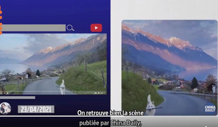 左側為米歇爾原創影片,右側為《中國日報》抄襲後竄改的畫面。(影片截圖)