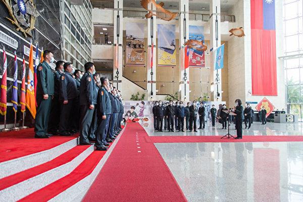 中華民國總統蔡英文2月2日前往國防部勗勉「情次室聯合情研中心」並致詞。(台灣總統府提供)