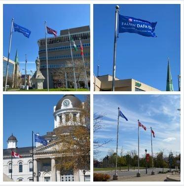 法輪大法洪傳世界29周年,加拿大有十個市、鎮政府特別舉行升旗或地標建築亮綵燈,以示祝賀。截止5月14日,加拿大佛學會共收到賀信、褒獎136件,其中有29個影片祝賀。(大紀元合成圖)