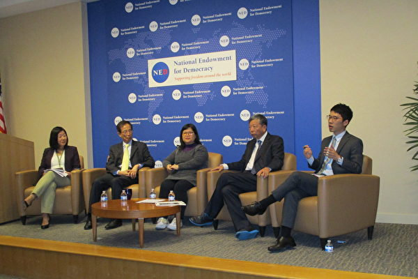 5月14日,美國國家民主基金會(NED)舉行以「對香港民間社會和法治的新威脅」為主題的研討會。李柱銘等人與會,呼籲華府各界採取行動,制止惡法《逃犯條例》。(李辰/大紀元)