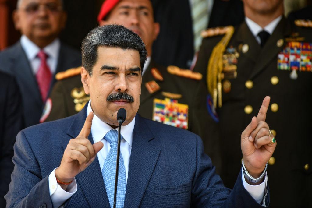 委內瑞拉社會主義領導人馬杜羅3月12日在一次新聞發佈會上。(Carolina Cabral/Getty Images)