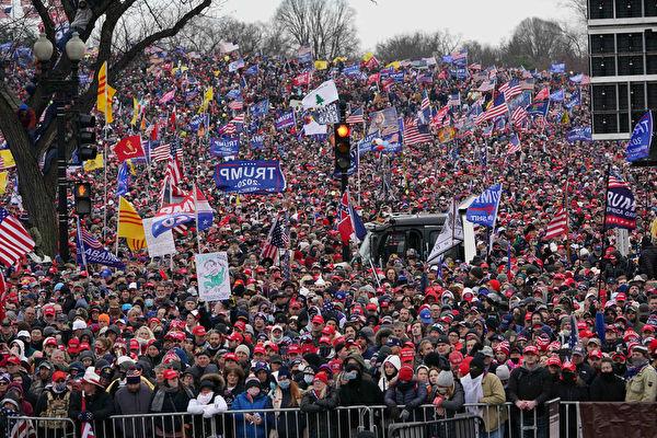 2020年1月6日,美國華盛頓DC,大批群眾湧入華府呼籲「制止竊選」。(MANDEL NGAN/AFP via Getty Images)