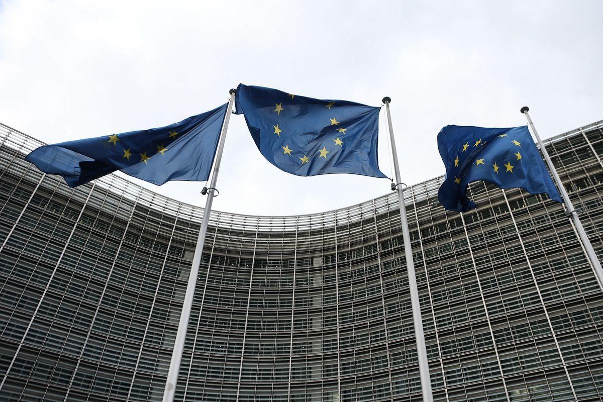 歐盟旗幟。(ARIS OIKONOMOU/AFP via Getty Images)