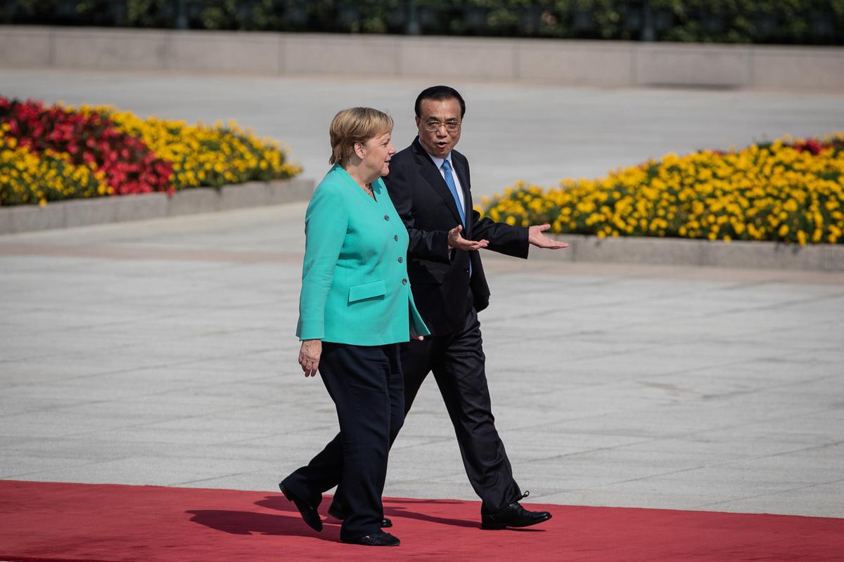 德國總理默克爾與中共總理李克強2019年9月6日在北京會面。(Roman PILIPEY/POOL/AFP)