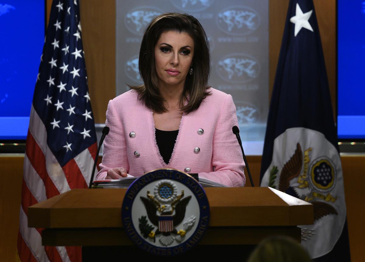 美國國務院發言人奧塔格斯(Morgan Ortagus)表示,中共不遵守對國際的承諾時,美國將會行動。(ANDREW CABALLERO-REYNOLDS/AFP)