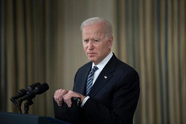 2021年4月6日,美國總統拜登在白宮新聞會上。(Brendan Smialowski/AFP)