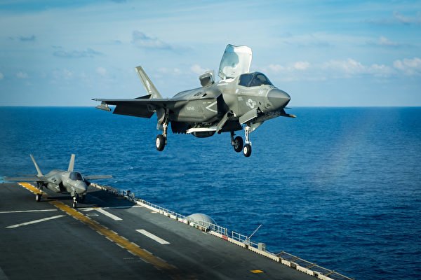 2020年4月16日,美利堅號(LHA 6)兩棲攻擊艦隊已經從東海快速機動部署到南中國海,進行F-35B戰機演練。(美國印太司令部)