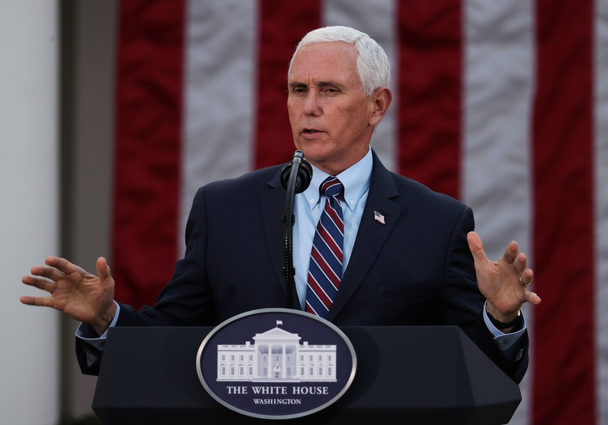 美國副總統彭斯資料圖。(Tasos Katopodis/Getty Images)