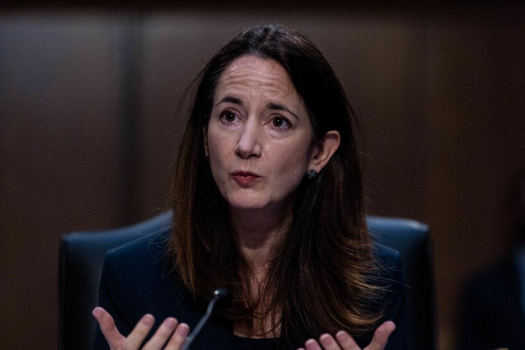 2021年4月14日,美國國家情報總監海因斯(Avril Haines)在參議院舉行的「全球威脅」聽證會上講話。(Graeme Jennings-Pool/Getty Images)