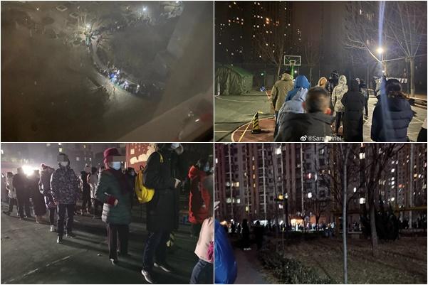在數九寒天的夜晚,中共當局要求北京大興區眾做核酸檢測。(大紀元合成圖)