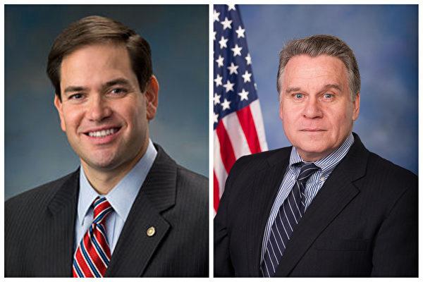 美國國會CECC主席、聯邦參議員魯比奧(Marco Rubio,左)和美國國會CECC共同主席、聯邦眾議員史密斯(Chris Smith,右)等四名美國官員受到中共「制裁」。(大紀元合成)