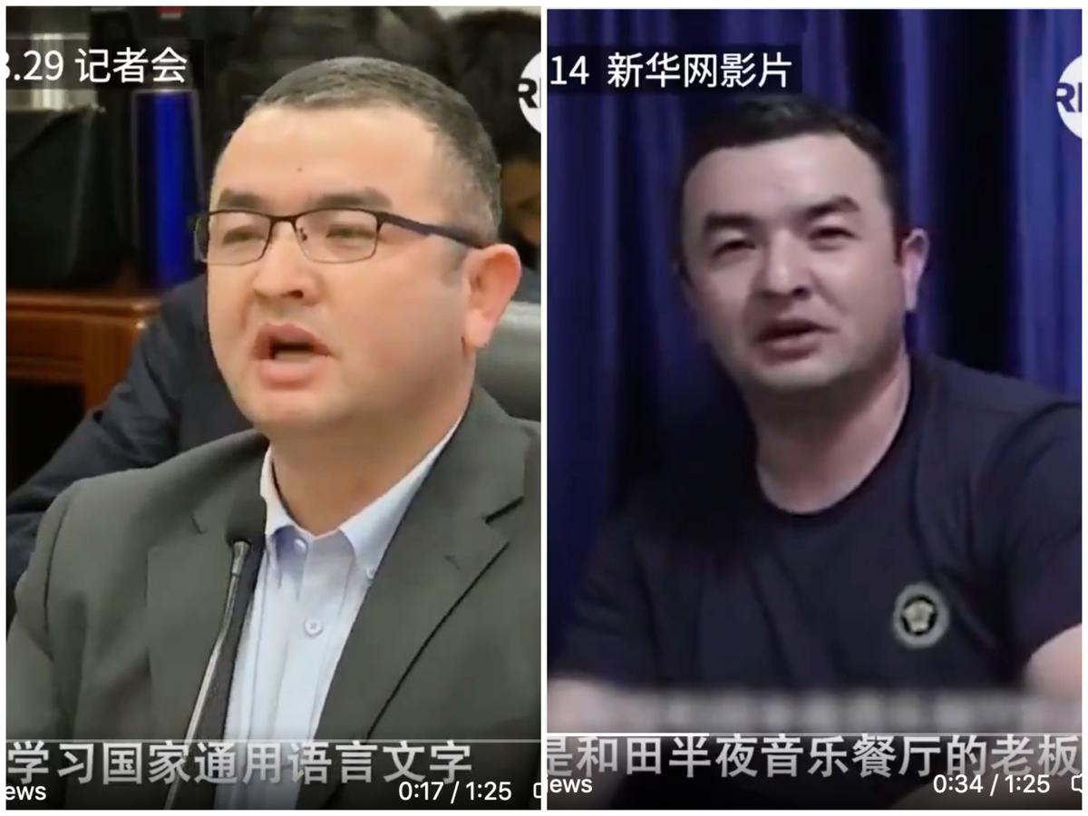 中共外交部發佈會,一名維吾爾人為新疆的「教培中心」進行美化,卻與去年宣傳片中的身份起衝突,被指造假穿幫。(影片截圖)