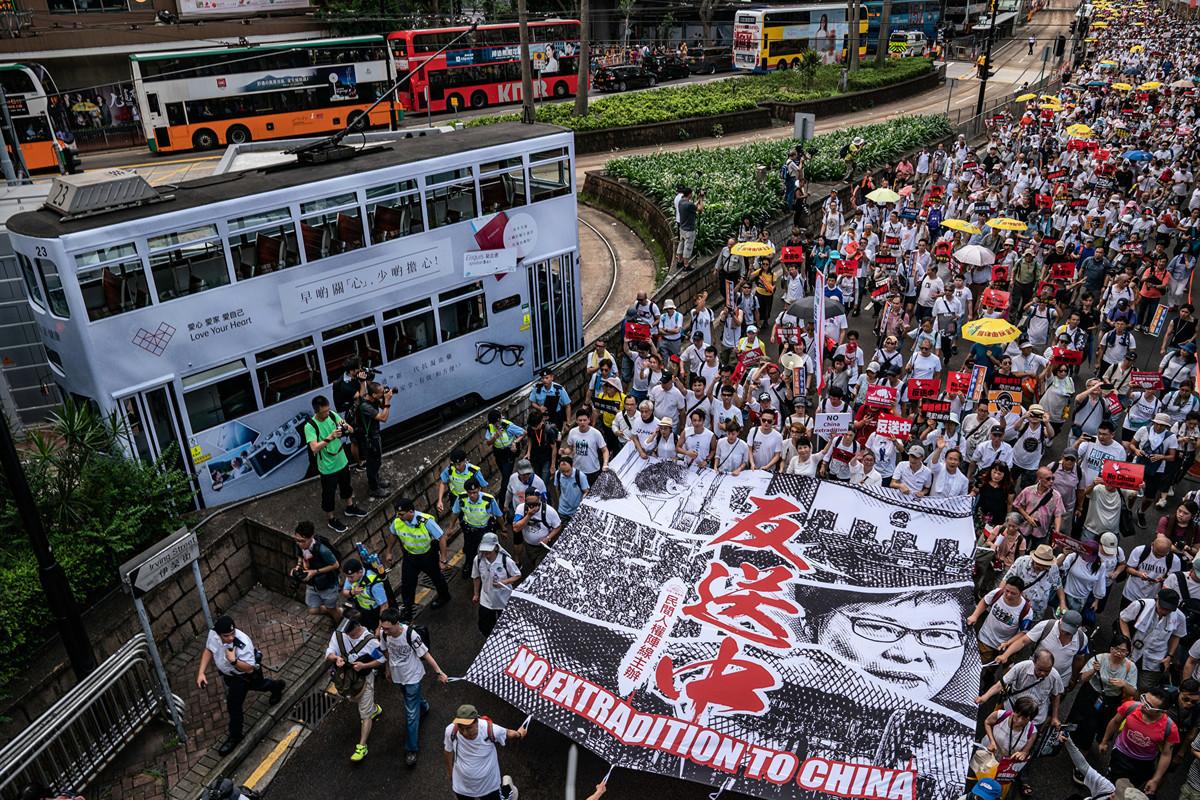 6月9日,香港逾百萬人上街大遊行「反送中」,即反對港府欲對「引渡條例」立法。 (Anthony Kwan/Getty Images)