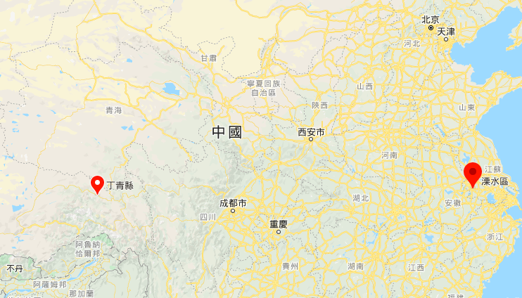 7月28日西藏昌都市丁青縣、江蘇南京市溧水區均發生地震。(谷歌地圖)