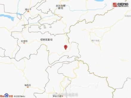 2月13日在塔吉克、中國新疆邊境地區附近發生6.1級左右規模地震。(中國地震台)